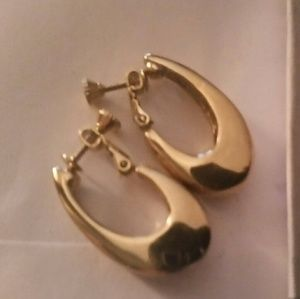 Vintage Monet Oval Drop Hoop Clip Earrings